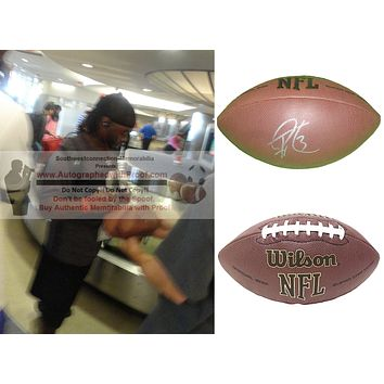 Trent Richardson Autographed NFL Wilson Football, Cleveland Browns, Proof Photo