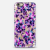DAHLIA DOTS 3 - Colorful Rainbow Plum Orchid Lavender Purple Blue Black Polka Dots Floral Abstract Watercolor Flowers Painting Pattern Art Whimsical Transparent Fun Multicolor Garden Blooms iPhone 6 case by Ebi Emporium   Casetify
