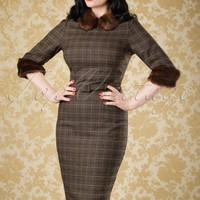 40s Christiane Checked Pencil Dress in Brown