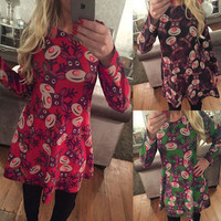 SIMPLE - Women Fashionable Flower Design Long Sleeve Round Necked One Piece Dress a10980