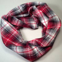 Handmade Infinity Scarf Plaid Flannel, Child, Kid Size, Super Warm Double Layer.  Red, Black and White Tartan - Christmas Holiday Gift