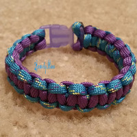 Purple and Turquoise/Yellow/Lime Green/Purple Paracord Survival Bracelet with Purple Plastic Buckle Camping Hiking Fashion Cobra Weave