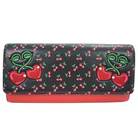 Rockabilly Pin-Up Cherry Love Large Clutch Wallet Crossbody Purse