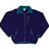 Vintage 90s L.L.Bean Purple Fleece Jacket Made in USA Mens Size Small