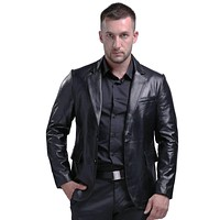 New Men's Genuine Leather Jackets And Coats Sheepskin Suit Collar Leather Jackets Men Soft Pure Leather Coats For Men