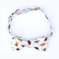 Rugged Mens Fly Fishing Lure Bow Tie In Eggshell