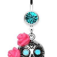 Bright Sugar Skull Rose Belly Button Ring