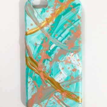 iPhone 6 Case - Abstract Art - Hand Painted - Cellphone Accessories - hard plastic cover- Green Teal Orange White Gold