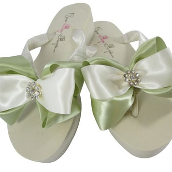 Celadon and Ivory /White Daisy Wedge Flip Flops