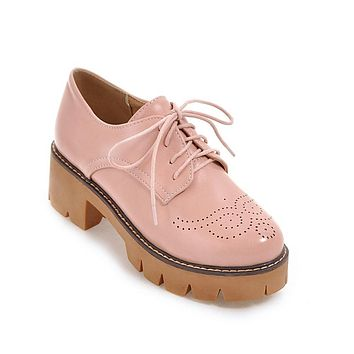Lady Square Toe Lace Up Platform Oxford Shoes