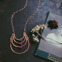 triselinos • copper ladder necklace - hematite crystal moon necklace - witch jewelry - hammered copper necklace - witchy necklace