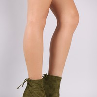 Breckelle Mitten Suede Heeled Ankle Boots