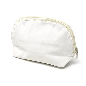 Oval Cotton Muslin Cosmetic Makeup Bag, 5-1/2-Inch, Gold