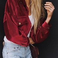 Burgundy Button Placket Front Long Sleeve Corduroy Jacket