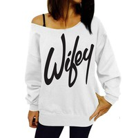 Wifey Off Shoulder Sweatshirt - White