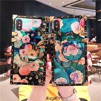 Luxury soft floral square trunk case for iPhone and Samsung (with or without pull up grip)