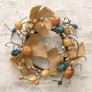 """Antiqued Egg, Pip & Burlap 7"""" Small Easter Wreath"""