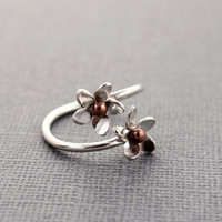 Plumeria Adjustable Ring, Size 7-8 READY TO SHIP, Silver and bronze, Hawaiian Frangipani Flower, Spring, Hawaiian Flowers, Gift for Her