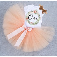 born Infant Baby Girls Clothes Dress Toddler Girl 1 Year First Birthday Outfits Yellow Tutu Kid Party Dresses