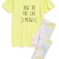 Girl's Aegean Apparel 'How Do You Like Meow' Two-Piece Fitted