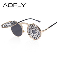 Sunglasses personality clamshell glasses for men and women metal