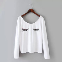 White Eye Print Long-Sleeve Shirt
