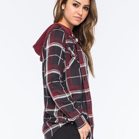 FULL TILT Womens Hooded Plaid Boyfriend Shirt | Gifts $25-$50