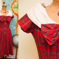 Vintage 50s Day Dress Plaid Big Bow