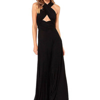 Black Maxi Dress with Cross Straps Front
