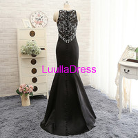 Long Black Beaded Satin Mermaid Prom Dress/Evening Dress/Party Dress 2015