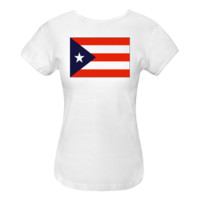 Puerto Rican Flag Black Border Women's Fitted T-Shirt White $15.99 www.inktastic.com