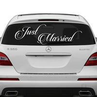 Just Married Vinyl Car Decal Design / Wedding Cling Banner Decoration Quote Sticker / Decals Back Car Window Mirror + Free Random Decal Gift