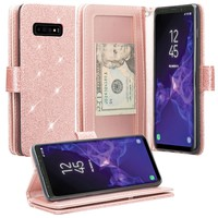 Samsung Galaxy S10 Plus Case, Samsung Galaxy S10+ Case, Glitter Faux Leather Flip Credit Card Holder Wrist Strap Shockproof Protective Wallet Case Clutch for Samsung Galaxy S10/Galaxy S10+ - Rose Gold