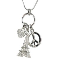Silver Tone 3D Crystal Eiffel Tower, Peace Sign, Heart Multi-charm Necklace