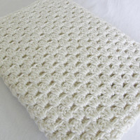 Ready To Ship Ivory Afghan Crib Blanket Baby Shower Gift