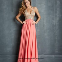 2014 Affordable Empire Halter Prom Dress in Watermelon Red with Beading Style VMNT057,2014 Prom Dresses