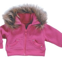 18 Inch Doll Jacket fits American Girl Dolls-Doll Clothes/Clothing- Fur Trimmed Hot Pink Fleece Doll Coat & Rhinestones, My Doll's Life