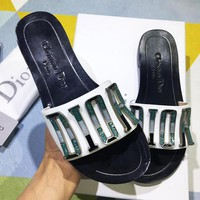 Dior fashion sells three-dimensional letter button casual lady slippers