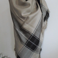 Brown Plaid Blanket scarf, Plaid scarf, Winter fashion, blanket scarves, oversized, winter gifts idea, blanket,
