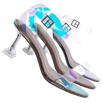 Water05 Lucite Clear Heel Sandal -Women Ankle Strapped Transparent Dress Shoe