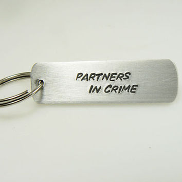 Partners in Crime keychain gift for a friend