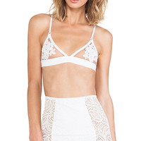 SKIVVIES by For Love & Lemons Fleur Bra in White
