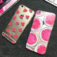 New Hot Sale Thin transparent soft shell Watermelon TPU Phone Back Cover Phone Case For Iphone 6 6S 6Plus 5 5S Case
