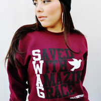 JCLU Forever Christian t-shirts — 039-SWAG MAROON SWEATER/UNISEX