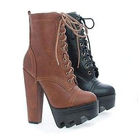 Vive58 By Wild Diva, Round Toe Lace Up Lug Sole Platform High Heel Combat Ankle Boots