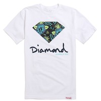 Diamond Supply Co Floral Script Logo T-Shirt - Mens Tee - White - Extra Large