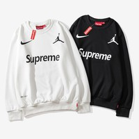 NIKE x AIR JORDAN x Supreme co-branded tide brand round neck pullover sweater