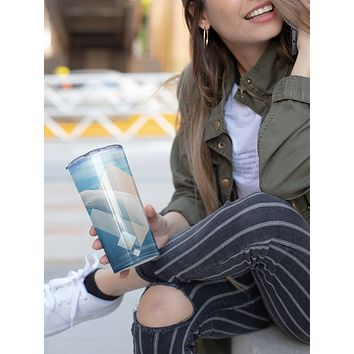 Beluga Whale Skinny Tumbler With Stainless Steel Straw Watercolor Ocean Illustrated Whale Gift Idea Travel Mug Cold Hot Vacuum Lid