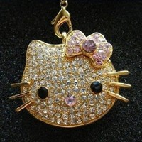 High Quality 8gb Hello Kitty Crystal Jewelry USB Flash Memory Drive Necklace (Golden)