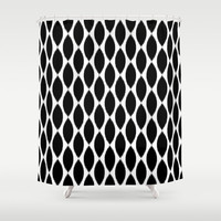 Shower Curtain - Black Ikat Petals - Black and White Shower Curtain - Dorm Shower Curtain - Glamour Decor - Shower Curtain - Teen Room Decor